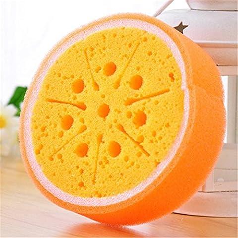 Frutto della forza bruta spugna di decontaminazione purga lavaggio delle stoviglie pulire Pulire il lavaggio delle lane spugne strofinacci da cucina arancione una