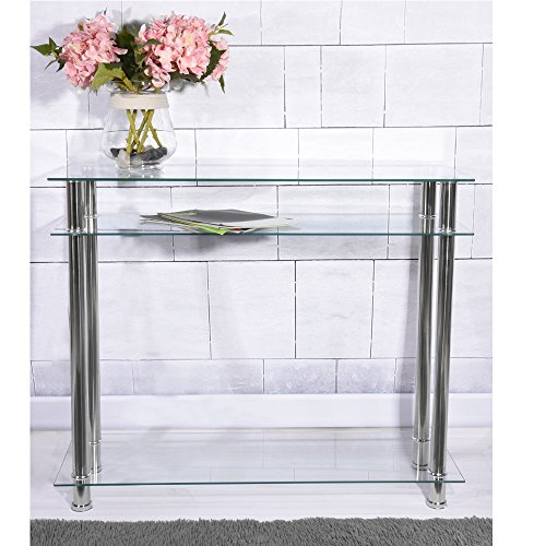 Clear Glass Side Console Table with 3 Tier Shelf Unitfor Living Room Hallway Furniture