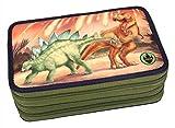 Depesche 10011 - Dino World 3D Federtasche 3 fach, mit LED, ca. 20 x 13 x 7 cm