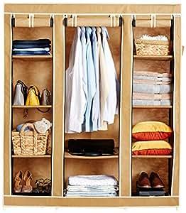 Amazon Brand - Solimo 3-Door Foldable Wardrobe, 10 Racks, Beige