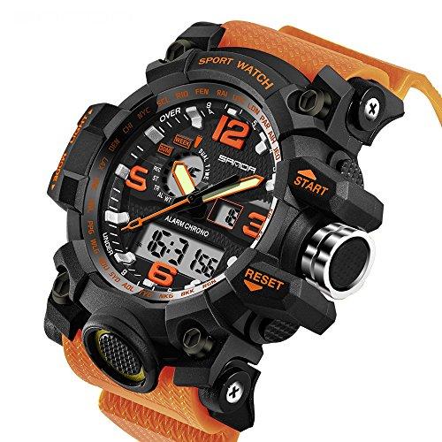 SANDA 2016Neue Marke Mode Armbanduhr Herren G Stil Wasserdichte Sport Military Uhren Schock Herren Luxus Armbanduhr Analog Digital Quarz, Orange