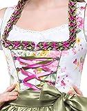 Dirndlspatz Dirndl Damen 3 teilig Anja in Grün Rosa Pink Geblümt Pink Gr 38 Festliche Midi Blumen Trachtenkleid 3 tlg Oktoberfest Test