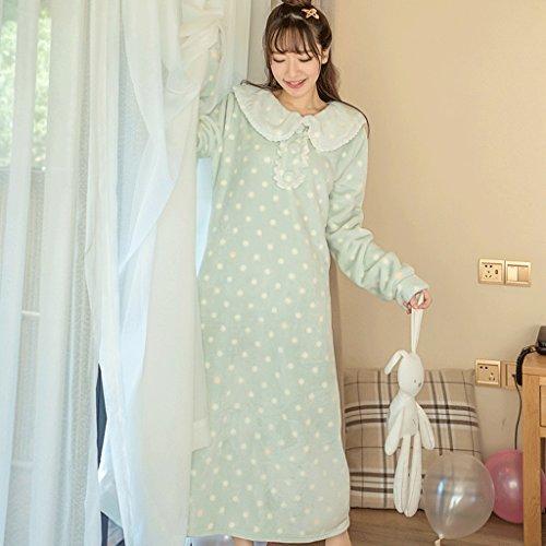 ZLR Autumn Season Cute Ispessimento Camicia da notte Lady Long Section Pigiama Home Clothes Accappatoi ( Colore : F. , dimensioni : M ) E