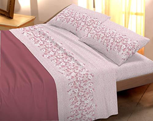 Banzaii completo lenzuola invernale felpate in flanella anti-pilling 100% cotone nina 2 piazze matrimoniale rosa