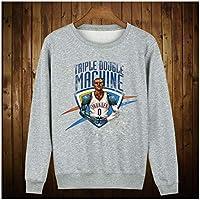 QNL Suéter de Baloncesto de Curry, nuevos Deportes de Baloncesto Grueso más de Terciopelo suéter de Cuello Redondo para otoño e Invierno, Chaqueta Suelta de los Hombres, Gray Westbrook-XXL