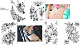 Blumen Rosen Tattoos 5 Bögen Set Flower Tattoos Temporäre Tattoos