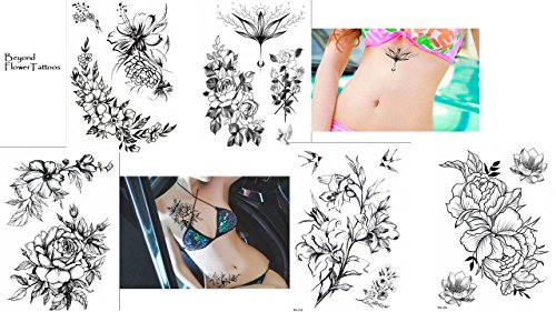 Blumen Rosen Tattoos 5 Bögen Set Flower Tattoos Temporäre Tattoos