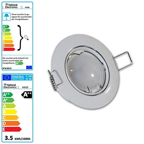 1er, 3er, 6er oder 10er Set National Electronics® Deckenspots in weiß oder silber | GU10 3.5W 320 Lumen LED | Leuchtmittel AC 230V 120° Deckenlampe Einbauspot warmweiß