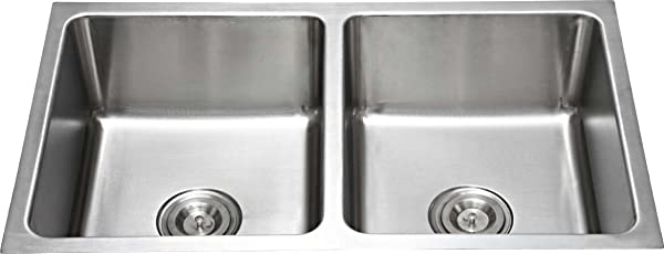Low Radius Double Bowl Stainless Steel Sink Silver LINE9003A