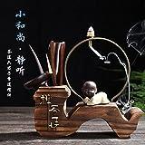 KEQB Teezeremonie, Sechs Herren, Kung Fu Tee-Set, Ersatzteile, Teeservice, Set aus Ebenholz, Bambus und Tee-Clip, Stille