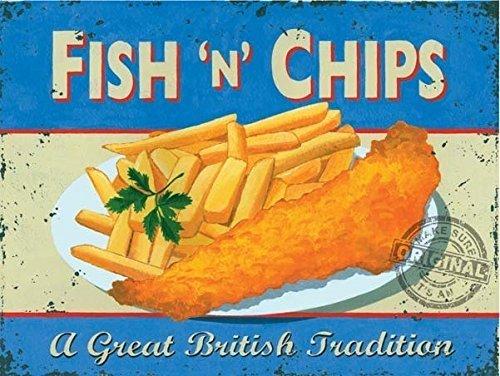 Fisch n Chips. Essen, chippy, Fisch & Chips. Ein Groß Britisch Tradition Mahlzeit. Retro Alt Vintage werbeanzeige für heim, küche, pub, cafe, restaurant, chippy / chip abzuholen. Metall/Stahl Wandschild - 30 x 40 cm