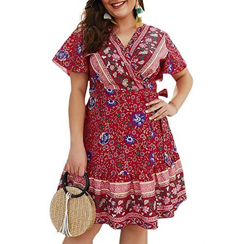 YuJian12 Mousseline De Soie Plus La Taille 3XL 4XL Robe De Fleur D'été Femmes Parti Casual Femme Col V Profond Manches Courtes Floral Imprimé Robes Sexy de Femmes