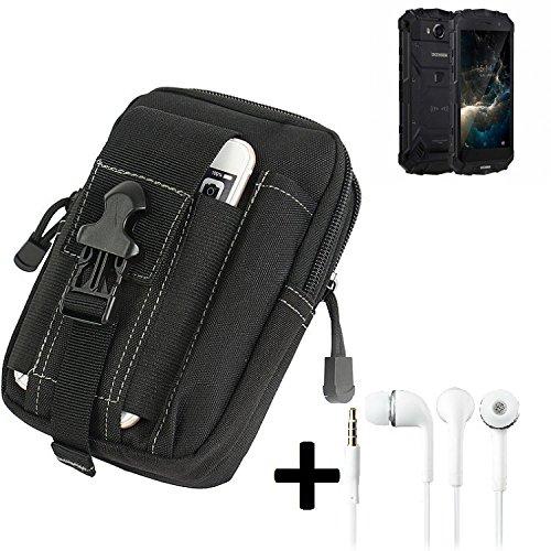 K-S-Trade Gürteltache für Doogee S60 Lite Gürtel Tasche Schutzhülle Handy Schutz Hülle Smartphone Tasche Outdoor Handyhülle schwarz inkl. Extrafächer + Kopfhörer