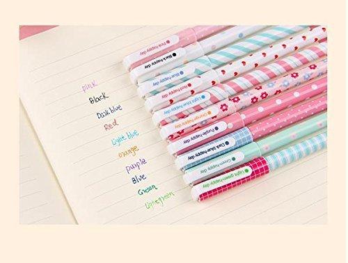 Rainbow Fox Kugelschreiber in einer Box 10 verschiedenfarbig Multi Farben Bunte Gel Ink Pen koreanische Karikatur Einweg-Kugelschreiber Gelschreiber