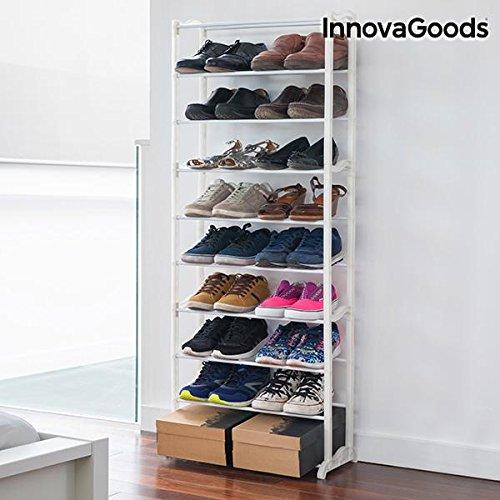InnovaGoods Zapatero con Capacidad para 30 Pares, Acrílico, Blanco, 50x135x25 cm, 6 Unidades