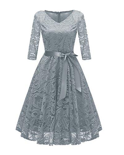 Laorchid Vintage Damen Kleid 3/4 Ärmel Floral Spitzenkleid Swing Cocktailkleid Grau XL