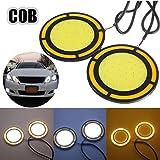 #4: EASY4BUY -2pcs High Power COB Round White DRL Yellow Turn Light Car fog Light bulb for - Renault Duster