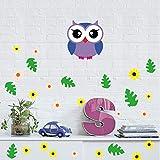 Rureng Cartoon Baby Eule Blatt Blume Wandaufkleber Für Kinder Babys Infant Room Decor Diy Bunte Wandbild Poster Kunst
