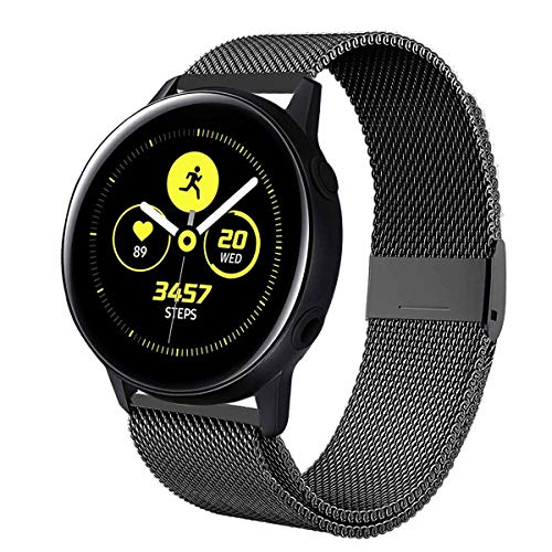 VANCHAN kompatible mit Samsung Galaxy Watch Active/Galaxy 42mm Armband,Solid Edelstahl Metall Ersatzarmband Uhrenarmbänder kompatibel mit Samsung Galaxy Watch Active/Galaxy 42mm Uhr (A-Schwarz) Galaxy Metall