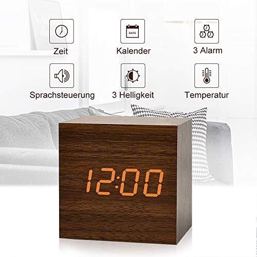 fomobest LED Wecker Wiederaufladbar Holz Tischuhr Klein Cube Datum/Temperatur Anzeige Digital Wecker Walnuß