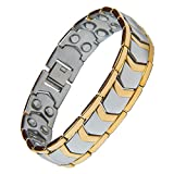 Aarogyam Energy Jewellery Golden Magnetic Therapy Double Tone Plating Metal Chain Bracelet For