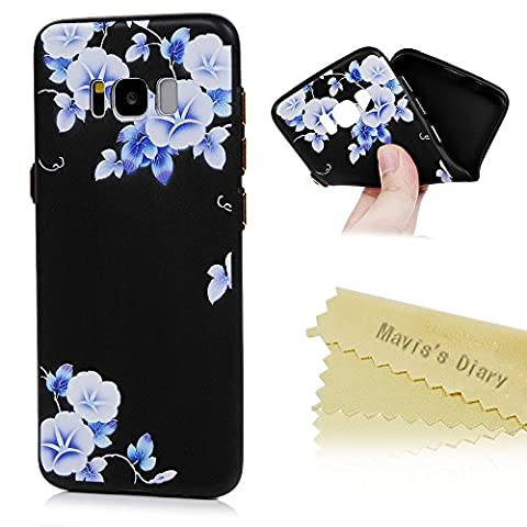 Mavis's Diary Samsung Galaxy S8 Case ,S8 Floral Case - Ultra Thin [3D Relief Prints] Scratch Resistant TPU Gel Rubber Soft Skin Silicone Protective Case Cover Exact-Fit Black Case [Gold Button Protection] - Morning