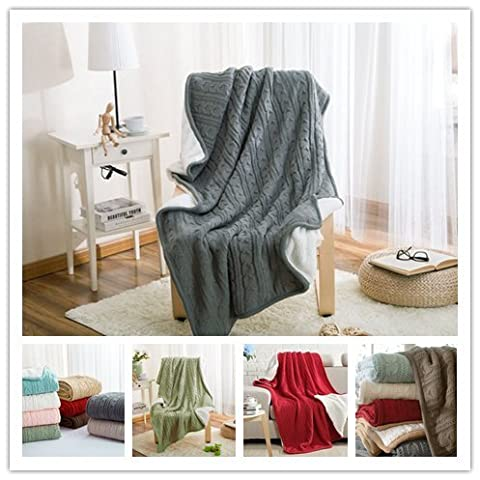 Unimall Warm Soft Blanket Cotton Bed Throws 2 or 3 Seater Sofa Single Size Bedspread Indoor or Outdoor Use Knitted Pattern Blanket, Grey