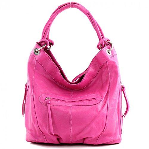 modamoda de - ital. Handtasche Damentasche Schultertasche Ledertasche Tasche Nappaleder Z18 Pink