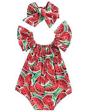Puseky Strampler für Mädchen, für den Sommer, mit Kopfband, mit Wassermelonen-Design mit Rüschen