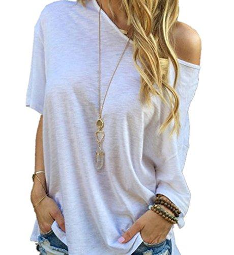 minetom-donne-moda-sexy-maglietta-casuale-maniche-corte-camicetta-uno-spalla-off-bianco-42