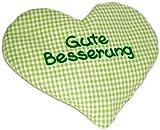 Wärmekissen Herz mit Spruch Gute Besserung grün kariert, Körnerkissen, Rapssamen Kissen, Geburtsgeschenk, Geburtstagsgeschenk