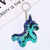 Youkara Reflective Glossy Unicorn Shape Keyring Bag Pendant Car Keychain Keyring Rings Key Holder Keychain -COLORFUL