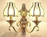 Wandleuchten, Wohnzimmer Wand Schlafzimmer Schlafzimmer Nachttischlampe Balkon, einfache Wandlampe Europäischen E14 Alten Kupfer Farbe, B