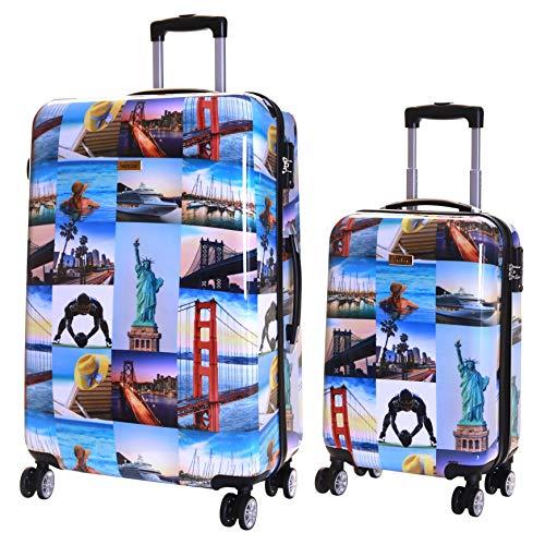 Karabar Valise Rigide à roulettes pivotantes de qualité supérieure avec Serrure TSA intégrée - Ensemble Lot de 2 valises rigides pièces, Falla Amérique