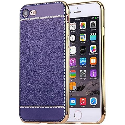 iphone 7 caso, Krygershield® - di lusso in pelle morbida copertura del gel di cristallo flessibile con paraurti elettrolitico in blu scuro