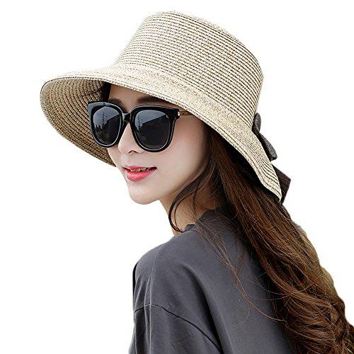 Floppy Ohren Kostüm - Damen Sonne Strand Stroh hat UV-Schutz faltbar Breite Krempe Floppy Hüte 56-59cm, Damen, Khaki