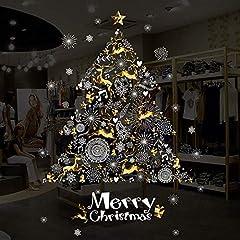 Idea Regalo - Christmas Windows adesivi, adesivi in vinile con adesivi a forma di albero di Natale palla di neve DIY Wall Art adesivo rimovibile per vetro vetrina Shop party supplies, 65cm H x 89,9cm H