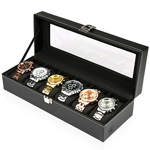 Price comparison product image H&S® Glass Lid 6 Watch Jewellery Display Storage Box Case Bracelet Tray Faux Leather Black