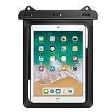 MoKo Wasserdichte Hülle, wasserdicht Tablethülle PC Schutzhülle Tasche für iPad 9,7, MediaPad M3 10/Samsung Tab A 10/Tab A 9.7/Tab E 9.6/Tab S2 S3 9.7, bis zu 10 Zoll Tablets - IPX8, Schwarz