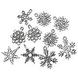 50 Stück in einem Weihnachten Schneeflocke Charm Anhänger Halskette Anhänger Schlüssel Anhänger Zubehör Geschenk