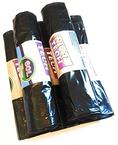 50St. Party sacchetti di immondizia/sacchi–60litri (extragrossen apertura) con laccetto, carico massimo 15kg, confezione risparmio 5X 10St.