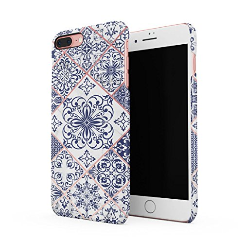Light Blue Moroccan Ornaments Mosaic On White Marble Dünne Rückschale aus Hartplastik für iPhone 7 Plus & iPhone 8 Plus Handy Hülle Schutzhülle Slim Fit Case Cover