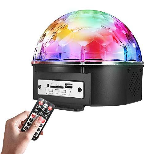 ZHENWOFC 9 Farb-LED Sprachsteuerung mit Fernbedienung MP3 Crystal Ball Blitzlichter Stadiums Sprinkle Lights Innenlicht (Color : Plug US plug) Mp3 Crystal