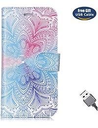 Funda Galaxy S6 Edge,Funda Cover Galaxy S6 Edge,Aireratze Slim Case de Estilo Billetera Carcasa Libro de Cuero,Carcasa PU Leather Con TPU Silicona [Estuche versátil de diseño en 1 en 1] Case Interna Suave [Función de Soporte] [Ranuras para Tarjetas y Billetera] [Cierre Magnético] para Samsung Galaxy S6 Edge (Mandala Sky) (+ Cable USB)