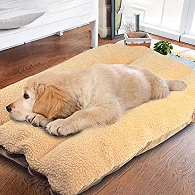 Authda Dog Beds Extra Large Washable Comfortable Detachable Non-slip Pet Mat with Lamb Cashmere Extra Soft Dog Bed Reversibly Indoor by Authda