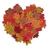 Luxbon 150 Stück künstliche Herbst Ahornblätter Ahorn Laub Herbstlaub Blätter für Unterlage Wandbild Türschild Party Hochzeit Weihnachten Deko - 2