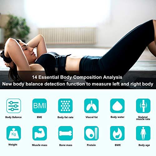 Báscula de Baño Zuzpao Báscula Grasa Corporal,  Básculas Digitales con App y 14 Datos del Cuerpo,  Balanza Baño para Peso,  Músculo,  Grasa Corporal,  IMC,  BMR,  Tasa de proteína,  180 kg / 400 lb