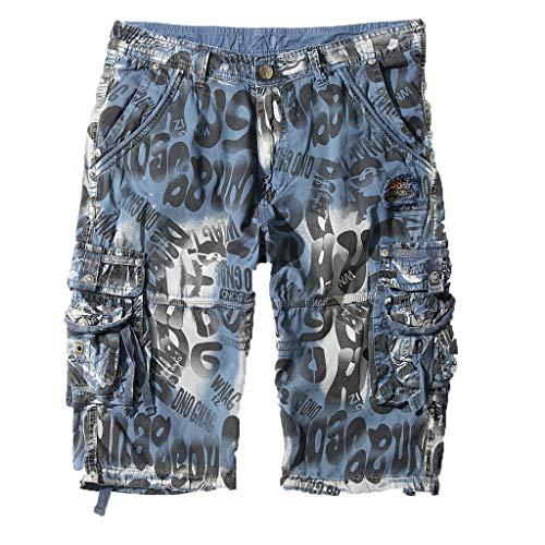 GreatestPAK Pants Multi Pocket Cargo Shorts Herren Sommer Neu Sommer Tarnung Shorts,Blau,30