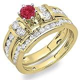 Damen Ring 14 Karat Gelbgold Rund Echte Rubin Und Diamant Damen Ehering Ring