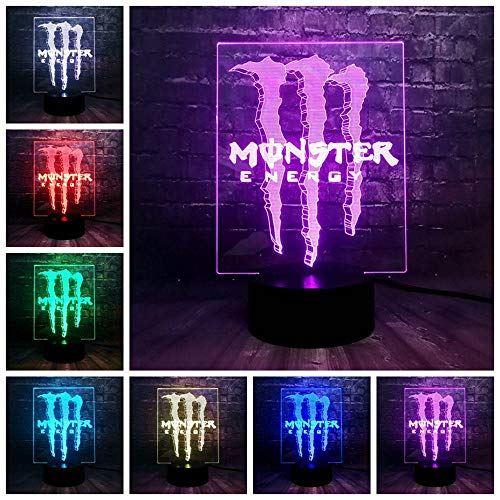 zcmzcm 3D Nachtlichter Kreative Illusion Rgb Us Energy Drink Logo Acryl Glanz 7 Farbe Usb Lade Decor Tabelle Nacht Stimmung Licht Urlaub Freunde Geschenk